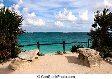 View of the Caribbean Sea from a Cliff at Tulum