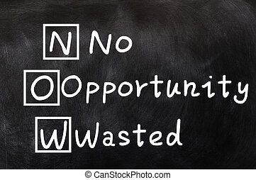 Acronym of NOW for No Opportunity Wasted written on a...
