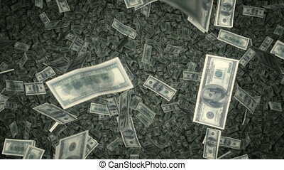 $100 Bills Raning Down - US - Exciting footage of millions...