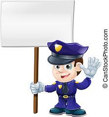 lindo, policía, hombre, señal, illustrat
