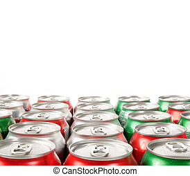 Pattern of soft drink can tops - Rows of soft drink can tops...