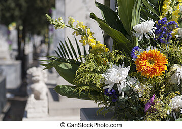 Chinese Ching Ming grave-sweeping - tomb in Beijing in...