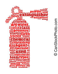 Fire extinguisher sign text graphic and arrangement concept