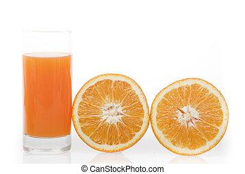 orange juice 100 isolated on white