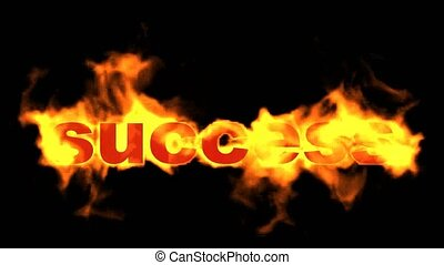 success fire text,burning business key word.