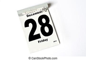 28 December 2012 - calendar sheet