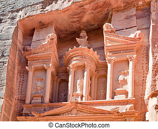 upper level of facade The Treasury in Petra