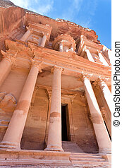 facade of The Treasury Monument in antique city Petra