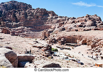 view on ancient Theater and Facade Street in Petra