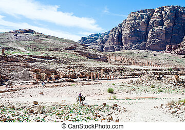 panorama of Colonnade Street in Petra - panorama of...