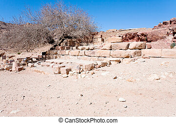 ruins of dried old fountain in Petra