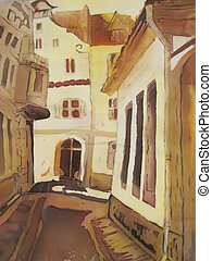 European city street abstract painting. - European city...