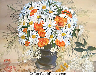 Chamomiles and orange flowers in vase painting - Still life...