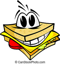 Smiling sandwich wth cheese, salad and meat for fast food...