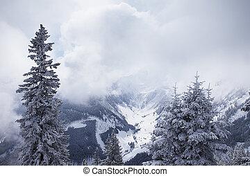 alpes, brumeux, montagnes, autrichien