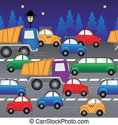 cars on the highway. seamless vector pattern - cars, trucks...