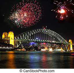 Sydney Bridge - Sydney harbour bridge with fire works