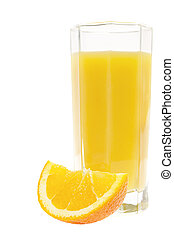 orange juice in glass isolated on white background