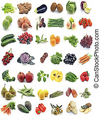 Mural of fruits and vegetables surrounded by white...