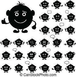 Smilies round, set, black - Smilies, set of round black and...