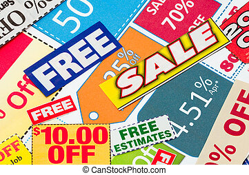Set of cut coupons to save money.