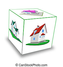 Cube. Frame-house - Cube. Model of a cottage on a white...