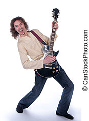 man with a guitar on a white background