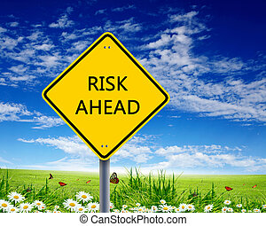 Road sign warning about risk ahead - Picture of yellow road...