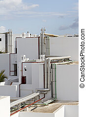 Lanzarote hotel roof top pipes