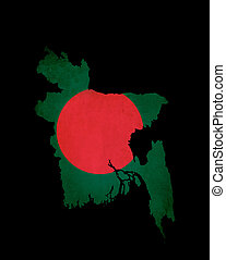 Bangladesh outline map with grunge flag