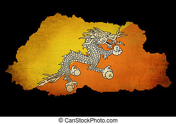 Bhutan outline map with grunge flag