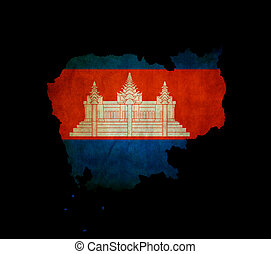 Cambodia outline map with grunge flag