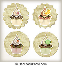 vector set of cupcakes on golden napkins