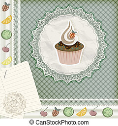 vector invitation temlate with cupcake