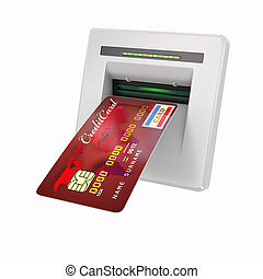 Money withdrawal ATM and credit or debit card 3d