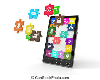 Tablet pc software. Screen from puzzle with icons.