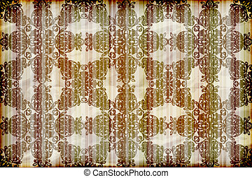vector seamless floral wallpaper on striped background,  crumpled burning paper texture