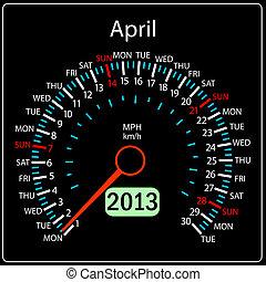 2013 year calendar speedometer car in vector. April.