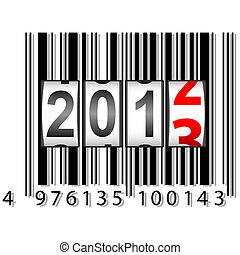 2013 New Year counter, barcode, vector.