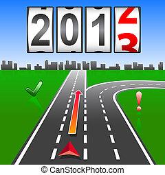 2013, nouveau, année, compteur, vecteur