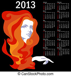 Stylish calendar with woman for 2013. Week starts on Sunday....