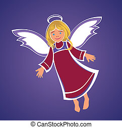 Flying Angel vector drawing