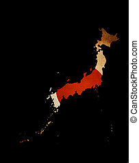 Japan outline map with grunge flag