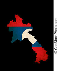 Laos outline map with grunge flag