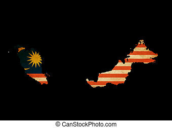 Malaysia outline map with grunge flag