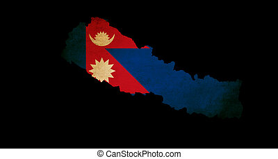Nepal outline map with grunge flag