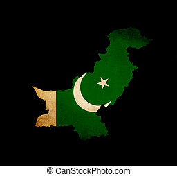Pakistan outline map with grunge flag - Map outline of...