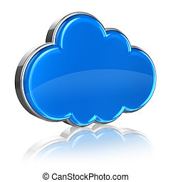 Cloud computing concept: blue glossy cloud icon isolated on...