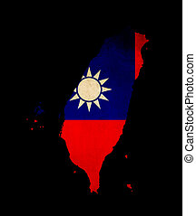 Taiwan outline map with grunge flag