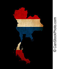 Thailand outline map with grunge flag